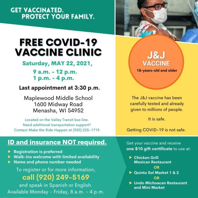 There will be a free COVID-19 Vaccine Clinic setup at Maplewood Middle School (in Menasha) this Saturday, May 22. See the images below to learn more, those who choose to get vaccinated will also receive a $10 gift certificate for food at participating restaurants!